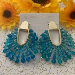 Kendra Scott Diane Gold Earrings Teal Agate